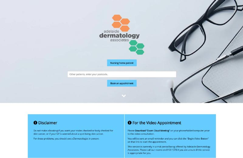 Diagnode telehealth clinic landing page