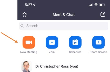 Diagnode telehealth platform - doctor starts a new Zoom meeting with patient